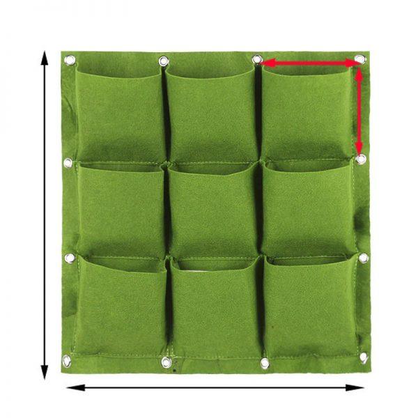 50 Cm x 50 Cm 9 Saksılı Keçe Duvar Saksısı Yeşil