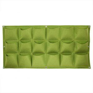 50 Cm x 100 Cm 18 Saksılı Keçe Duvar Saksısı Yeşil