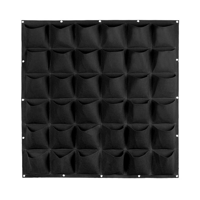 100 Cm x 100 Cm 36 Saksılı Keçe Duvar Saksısı Siyah