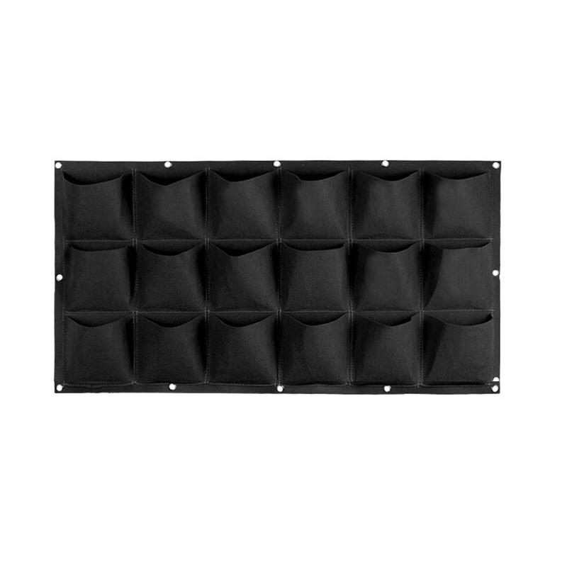 50 Cm x 100 Cm 18 Saksılı Keçe Duvar Saksısı Siyah